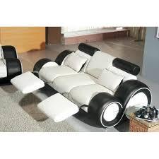 canape disign canapé design 3 places cuir noir et blanc relax achat vente