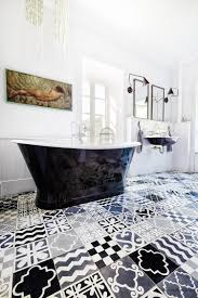 25 creative patchwork tile ideas full of color and pattern black and white bathroom with a patchwork of patterned tiles design carocim