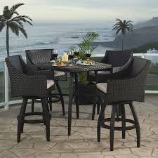 Patio Bar Furniture Sets - shop rst brands deco 5 piece espresso redwood patio bar set at