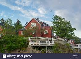 fisher house red wooden fisher house in norway stock photo royalty free image