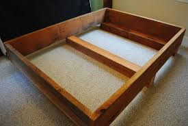 Make Wood Platform Bed by Bathroom Queen Size Raised Bed Frame With White Wooden Shelves