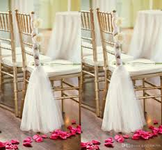 wedding chair sashes white tulle chair sashes handmade flowers criss cross chair sashes