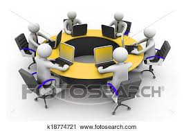 bureau rond clipart 3d professionnels travailler ensemble bureau dans