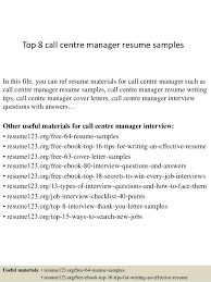 Resume Manager Top 8 Call Centre Manager Resume Samples 1 638 Jpg Cb U003d1428676870