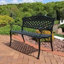 Patio Table Ls Sunnydaze 2 Person Checkered Cast Aluminum Garden Bench Black