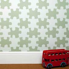 designer kids wallpaper u0027it u0027s a puzzle u0027 in light green bedroom deco