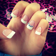 french manicure with blue rhinestones nails love obsessed