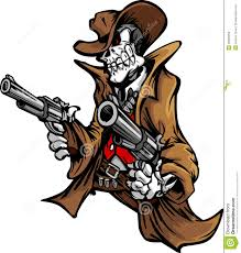skeleton cowboy with skull and hat aiming guns stock vector