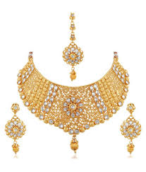 bridal necklace set images Apara exquisite gold plated diamond studded bridal necklace set jpg
