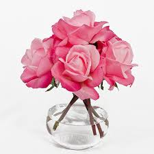 Vases Of Roses Real Touch Artificial Rose Arrangement With Faux Pink Roses