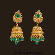 kerala style jhumka earrings gold earrings from kerala jewellers south india jewels