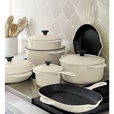 cast iron enamel cookware le creuset signature 1 75 qt cream saucepan with lid cast iron