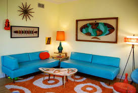 fresh modern retro living room ideas with dazzling blue lounge and
