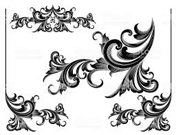 ornamental scrolls set engraving stock vector 165622803