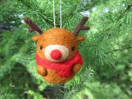 needle felted reindeer ornament rudolph ornament christmas