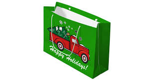 classic truck with christmas tree and snow large gift bag zazzle com