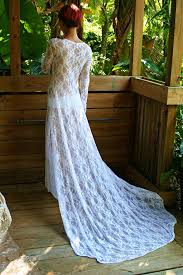Honeymoon Nightgowns White Lace Bridal Nightgown With Train Wedding Lingerie Bridal