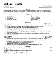 college student resume sles for summer jobs best part time sales associates resume exle livecareer