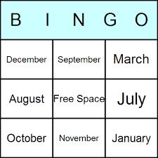 months bingo cards printable bingo activity game and templates