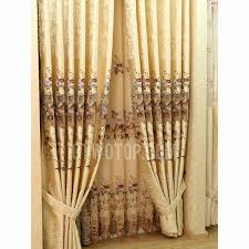 Gold Color Curtains High End Embroidery Poly Cotton Luxury Gold Color Living Room Curtain