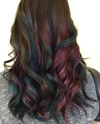 oil slick is the rainbow hair technique brunettes can wear
