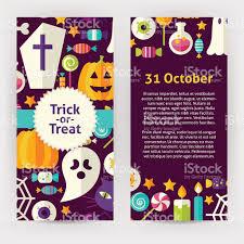 vector flyer template of flat design halloween trick treat objects