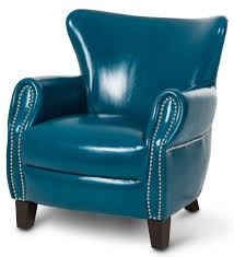 aico studio space ladon leather accent chair in teal blue st
