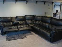 endearing black leather reclining sectional sofa flexsteel