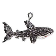 ornament glass multicolored 3 1 2 x 2 inch seed beaded shark