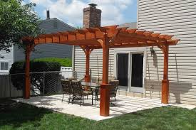backyard patio with a stand alone wood pergola wood pergolas