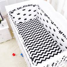 Black And White Crib Bedding Set 6 Pcs Set Black White Crown Design Baby Bedding Set Cotton