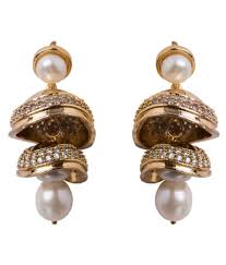 jhumka earrings chandrani pearls golden jhumka earrings buy chandrani pearls