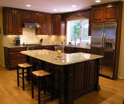 countertop backsplash stripes teak wood kitchen island black metal