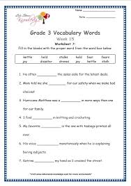 grade 3 vocabulary worksheets week 15 lets share knowledge