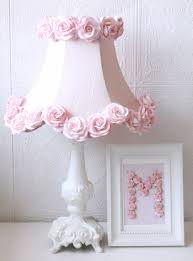 Nursery Chandelier Pink Dupioni Silk And Roses Table Lamp Vintage Lighting Kids