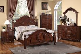 Antique Bed Sets 5 Pc Beatrix Collection Cherry Finish Wood Intricately