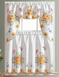 Butterfly Kitchen Curtains by Achim Home Furnishings Sunshine Tier And Swag Set 58 Inch By 36