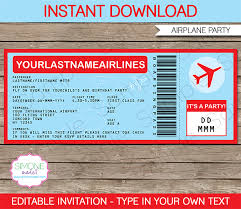 boarding pass invitations airplane ticket invitations template airplane party