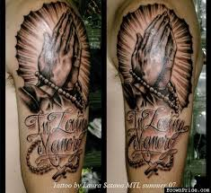 in loving memory praying hands tattoo designs real photo