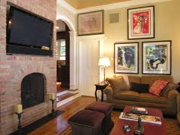 unique 10 living room paint colors with red brick fireplace