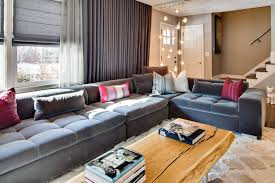 sectional couches living room eclectic with apartment black and