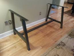 in metal table legs a metal table base with cross bar