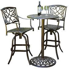 Aluminum Bistro Table And Chairs Cast Aluminum Brown Outdoor Bistro Bar Set Hayneedle