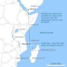 map comoros 14 rescued after yemeni plane crashes in indian