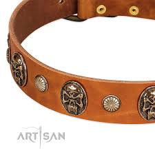 Comfortable Dog Collar Call Of Feat Fdt Artisan Tan Leather Great Dane Collar With Old