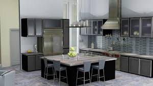 wooden lacquered cabinets neutral kitchen gray cushions dining