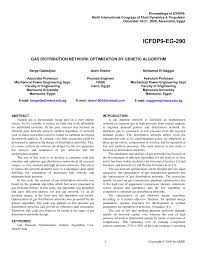 gas distribution network optimization by genetic algorithm pdf