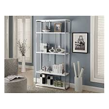 amazon com monarch chrome metal bookcase 72 inch glossy white
