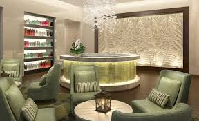 Home Salon Decor This Spa 39 S Interior Design Uses Cool Lighting And Textured