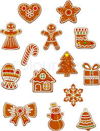 christmas and new year gingerbread cookies set with gingerbread